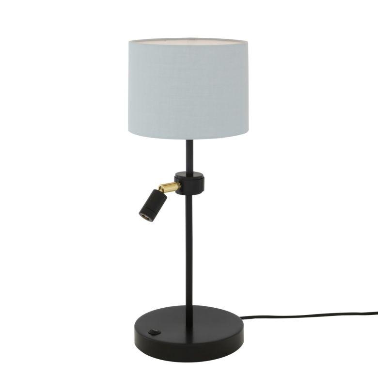 Malton Bedroom Table Lamp with Reading Spotlight, Matt Black and Grey Fabric Shade