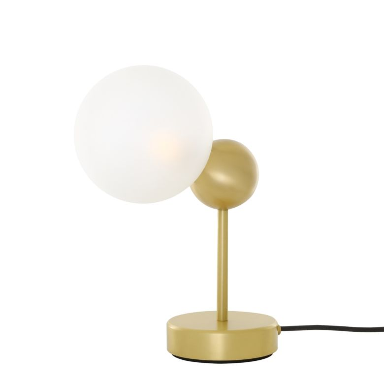 Helena Minimalist Brass and Frosted Glass Ball Table Lamp, Satin Brass