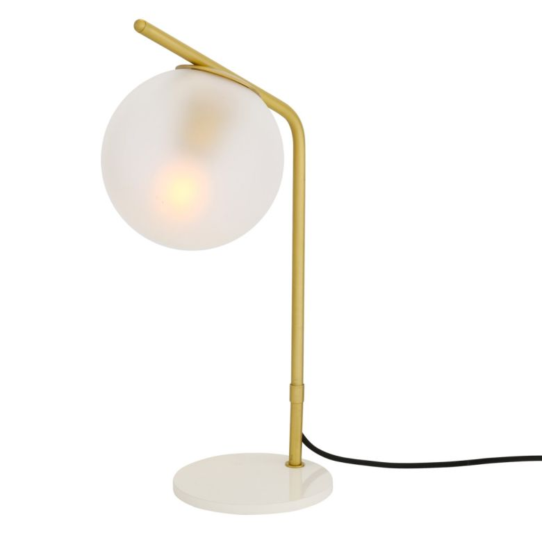 Albany Globe Table Lamp, Satin Brass, Frosted Glass