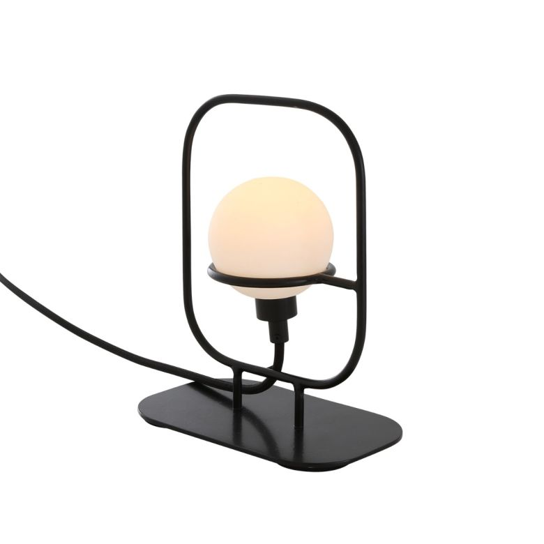 Mure Glass Ball Table Lamp in Black Metal Frame