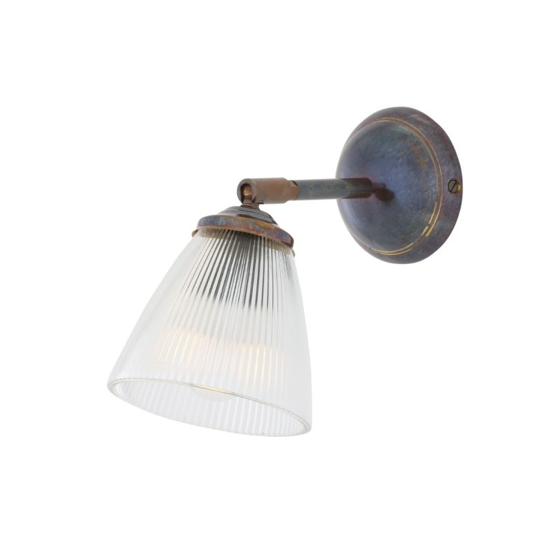Gadar Vintage Prismatic Glass Swivel Wall Light, Antique Brass