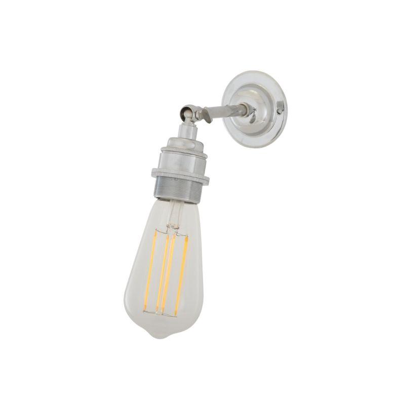 Lome Vintage Bare Bulb Wall Light with Swivel, Polished Chrome