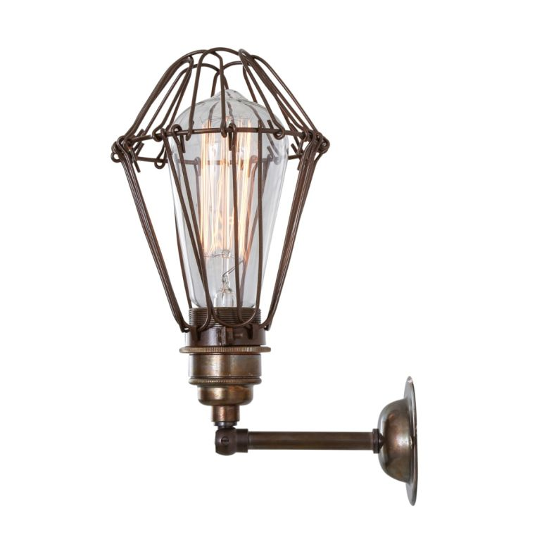 Cotonou Industrial Vintage Cage Swivel Wall Light, Antique Brass and Bronze Cage