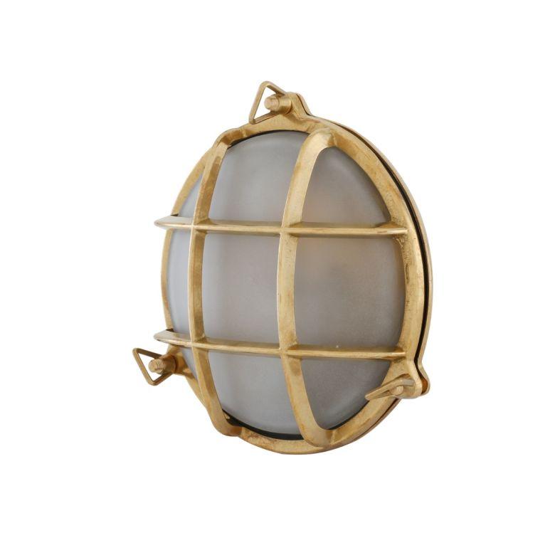 Evander Marine Round Bulkhead Wall Light 19cm IP54, Raw Brass, Frosted Glass