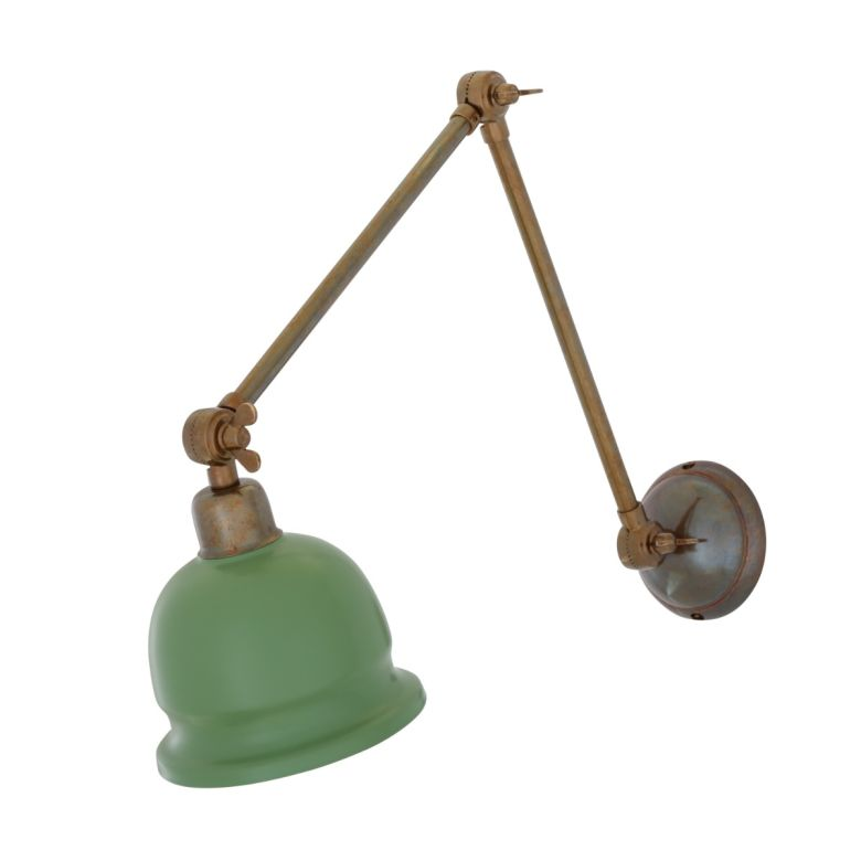 Nico Adjustable Arm Picture Light with Brass Shade, Antique Brass Sage Green Shade