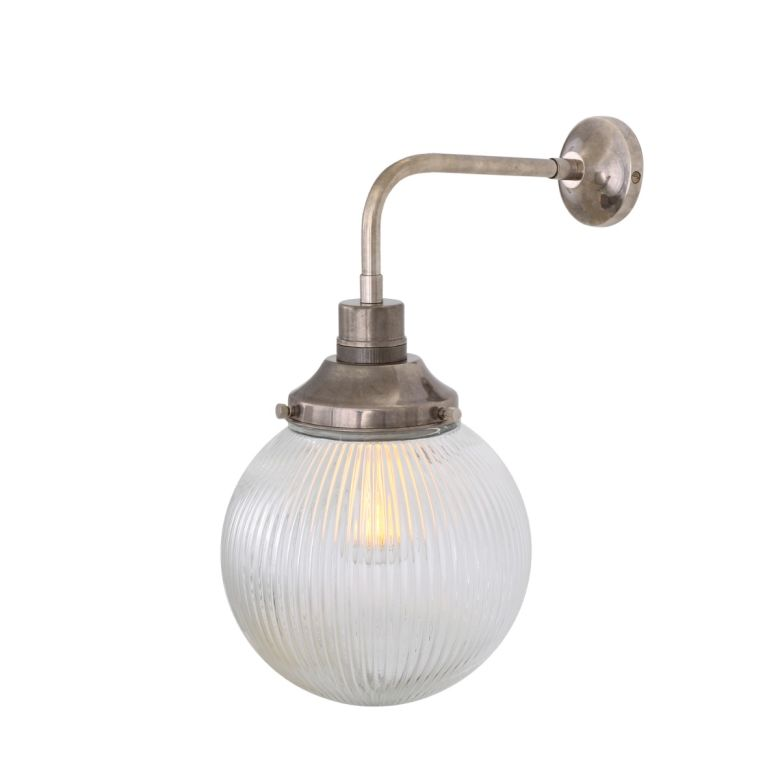 Stanley Small Holophane Glass Globe Wall Light 20cm, Antique Silver