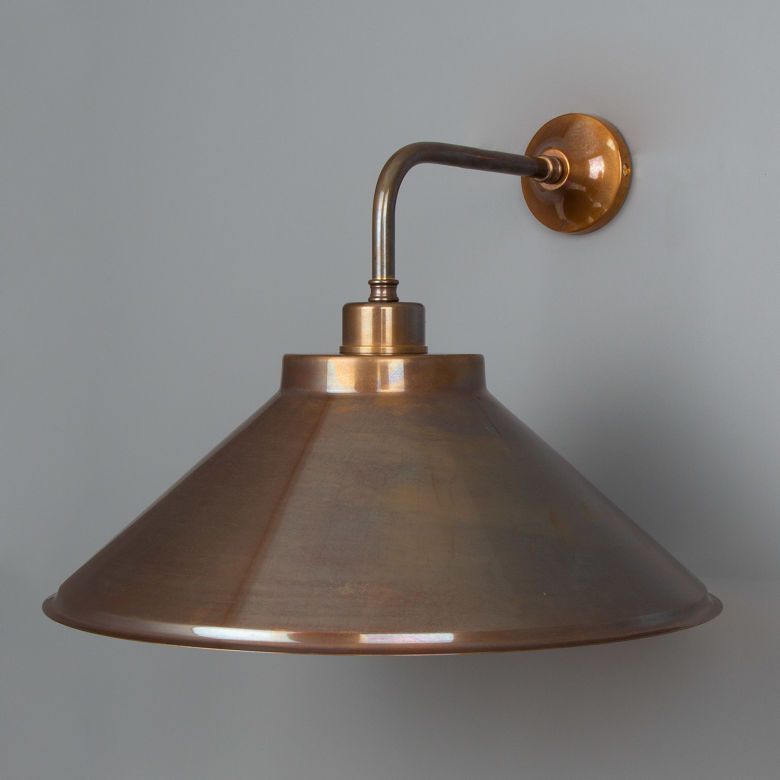 Rio Vintage Wall Light with Brass Cone Shade 38cm, Antique Brass