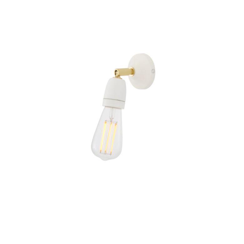 Caltra Swivel Wall Light with Ceramic Lamp Holder, White