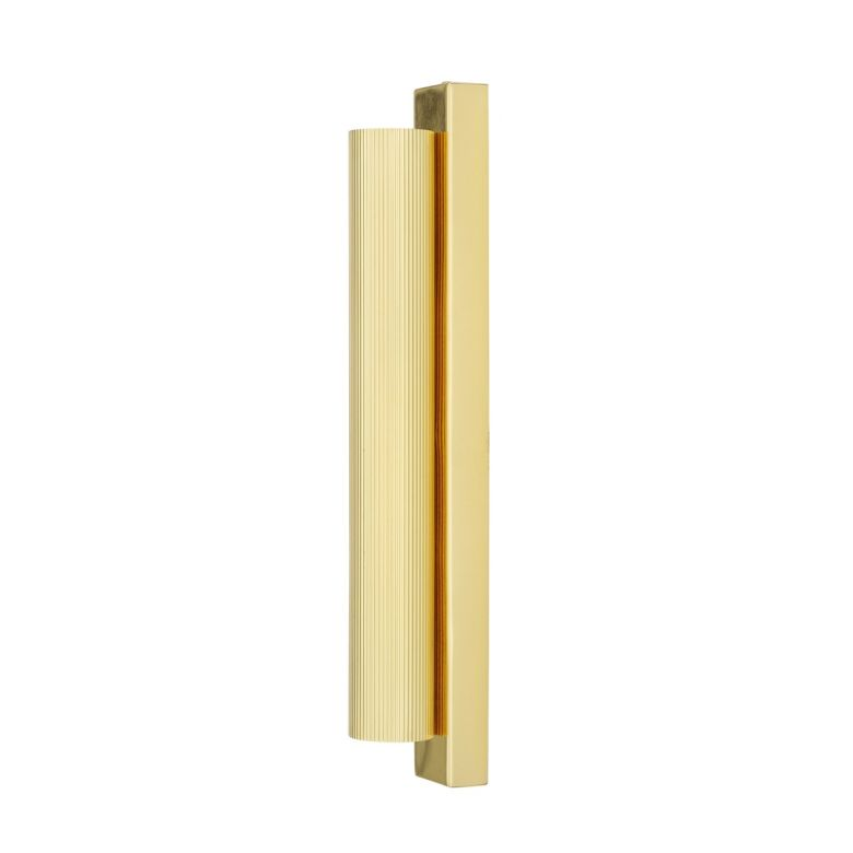 Royce Modern Slender Reeded Brass Wall Light, Polished Brass