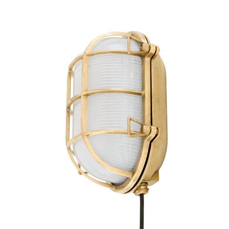 Ross Marine Bulkhead Wall Light Emergency IP65, Natural Brass