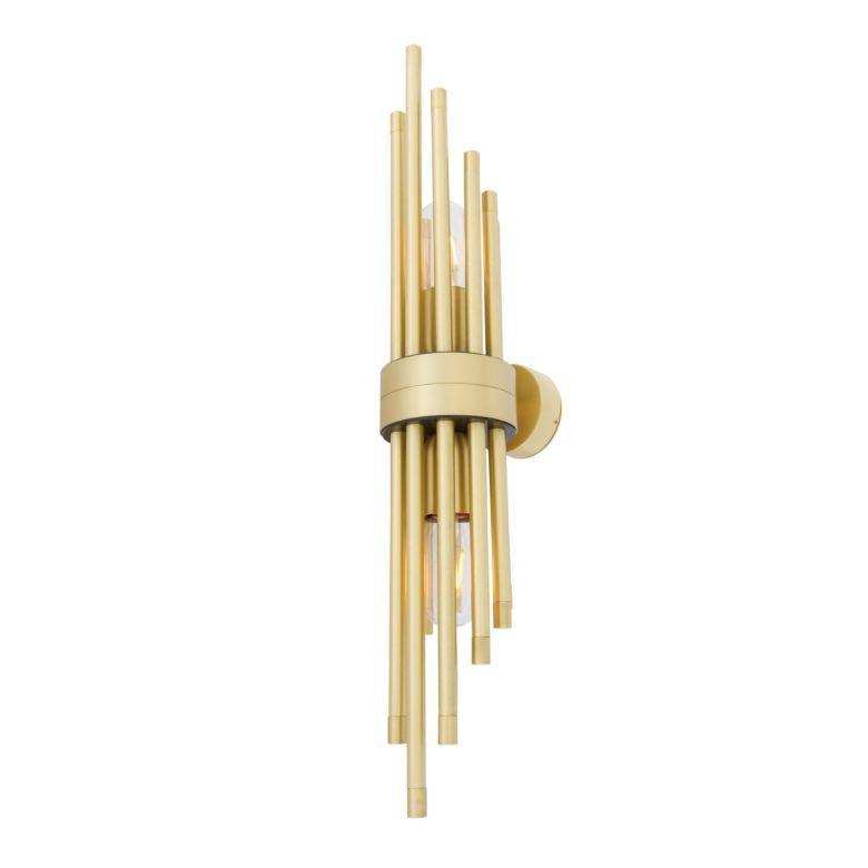 Victoria Contemporary Mini Brass Sleeve Wall Light, Satin Brass