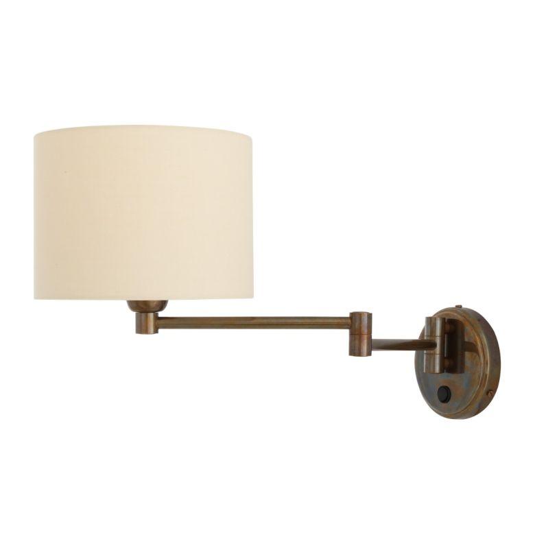 Kerry Swivel Arm Brass Wall Light with Cream Fabric Shade