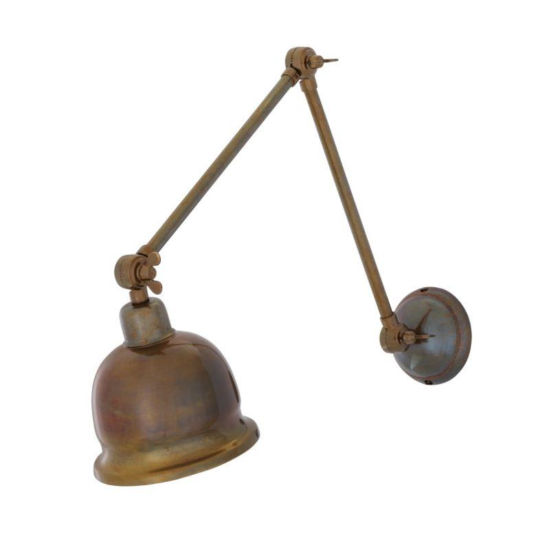Dale Vintage Adjustable Brass Picture Light, Antique Brass