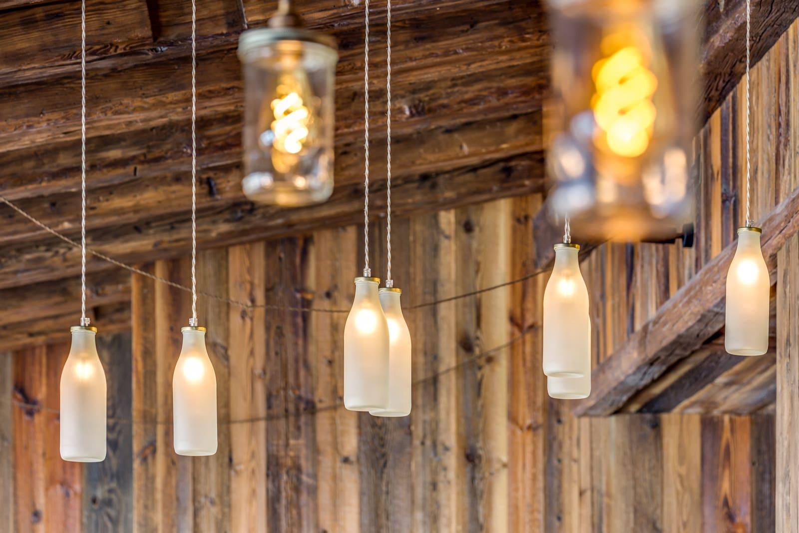 Milk bottle and Jam Jar pendants from Mullan Lighting