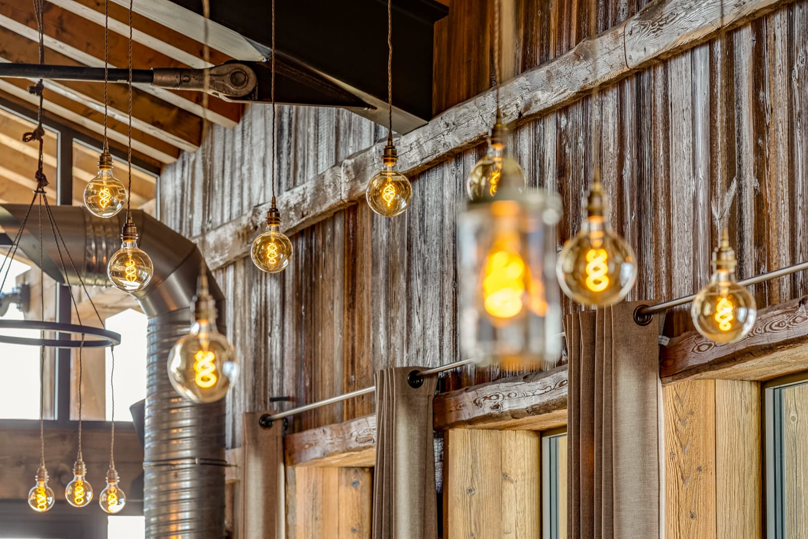 Lome vintage pendants with exposed Edison bulbs