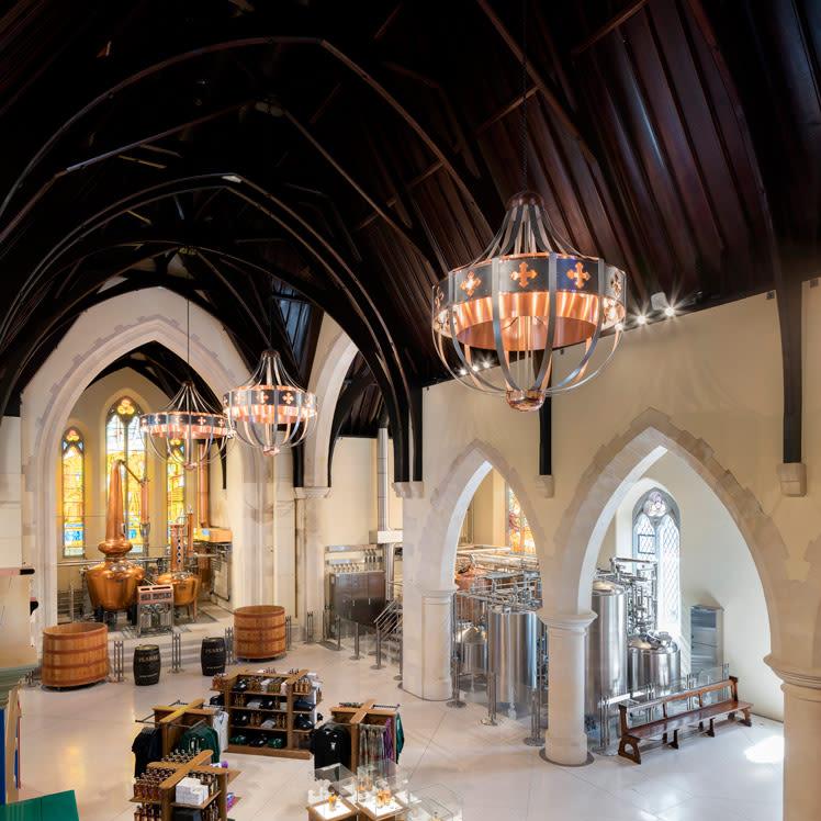 Bespoke chandeliers in the Pearse Lyons Distillery, Dublin