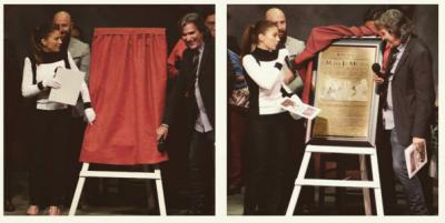 Para develar la placa Ludwica Paleta se colocó los guantes característicos de María Joaquina. (Instagram).