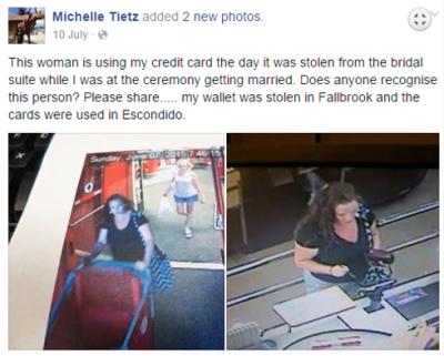 La novia publicó las imágenes de la supuesta ladrona.