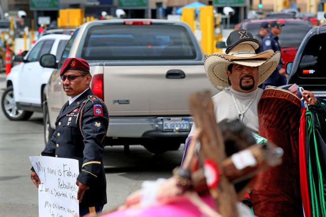 Deported Military Veterans Protest At U.S.-Mexican Border