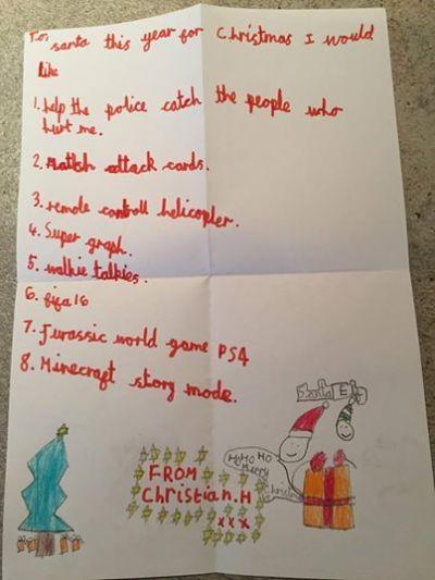 Carta de Christian a Santa Clau vía Facebook, publicada por el departamento de policía de Manchester.