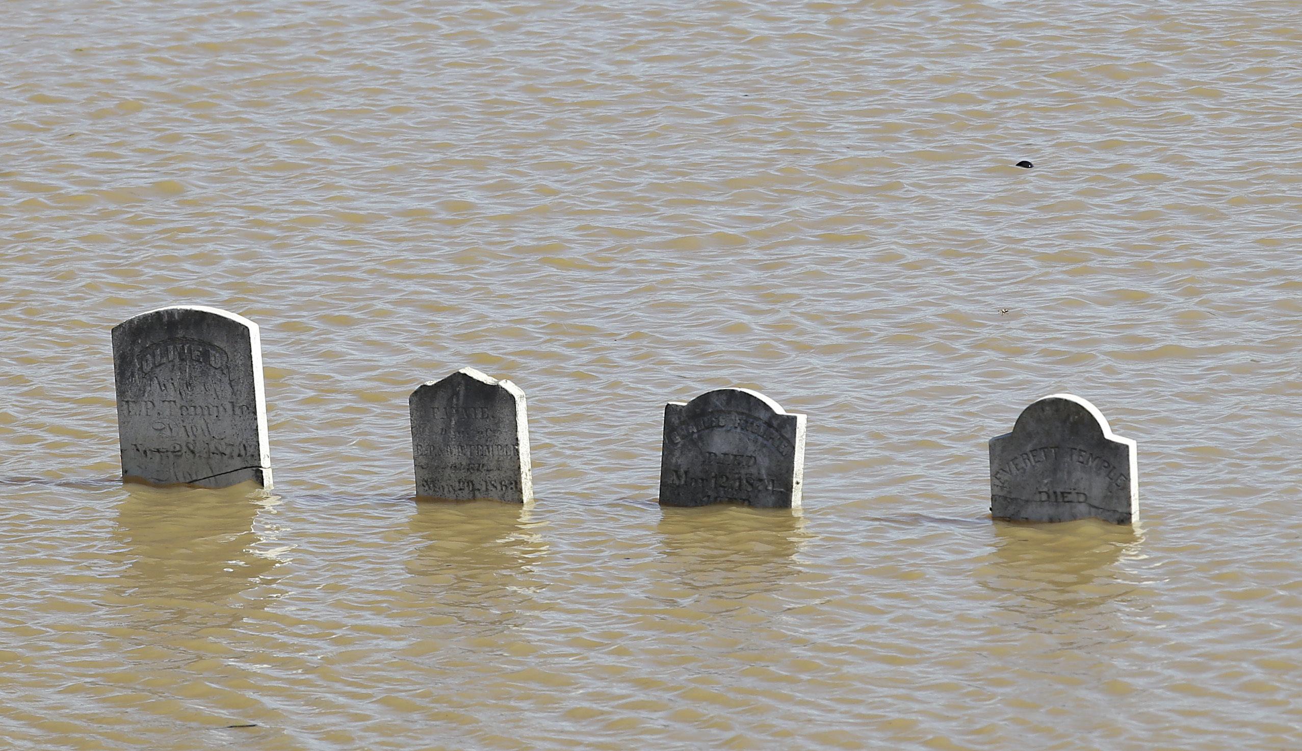 Varias lápidas se asoman en la superficie tras una inundación en el cementerio Marysville en Marysville, California, el sábado 11 de febrero de 2017. La inundación del cementerio provino del río Feather. Las lluvias de varios días causaron el desbordamiento de ríos y obligaron a que se utilizara por primera vez un aliviadero de emergencia en la presa de Oroville. (AP Foto/Rich Pedroncelli)