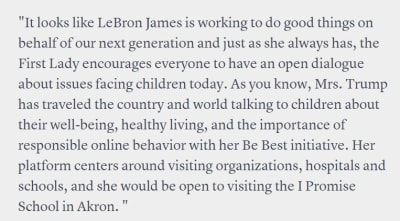 Melania Trump apoya a LeBron