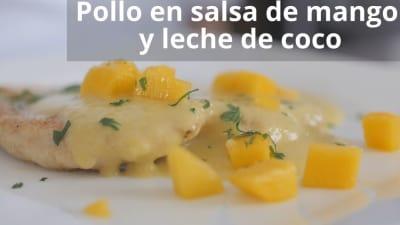 pollo en salsa de mango y leche de coco