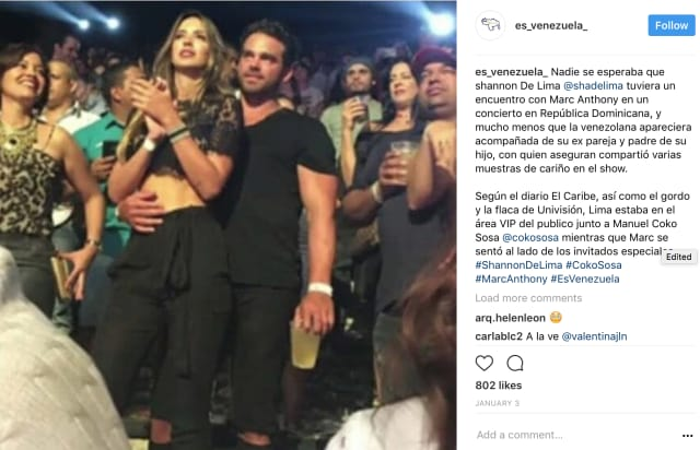 Shannon de Lima con su ex Manuel Sosa en un concierto en el 2016.