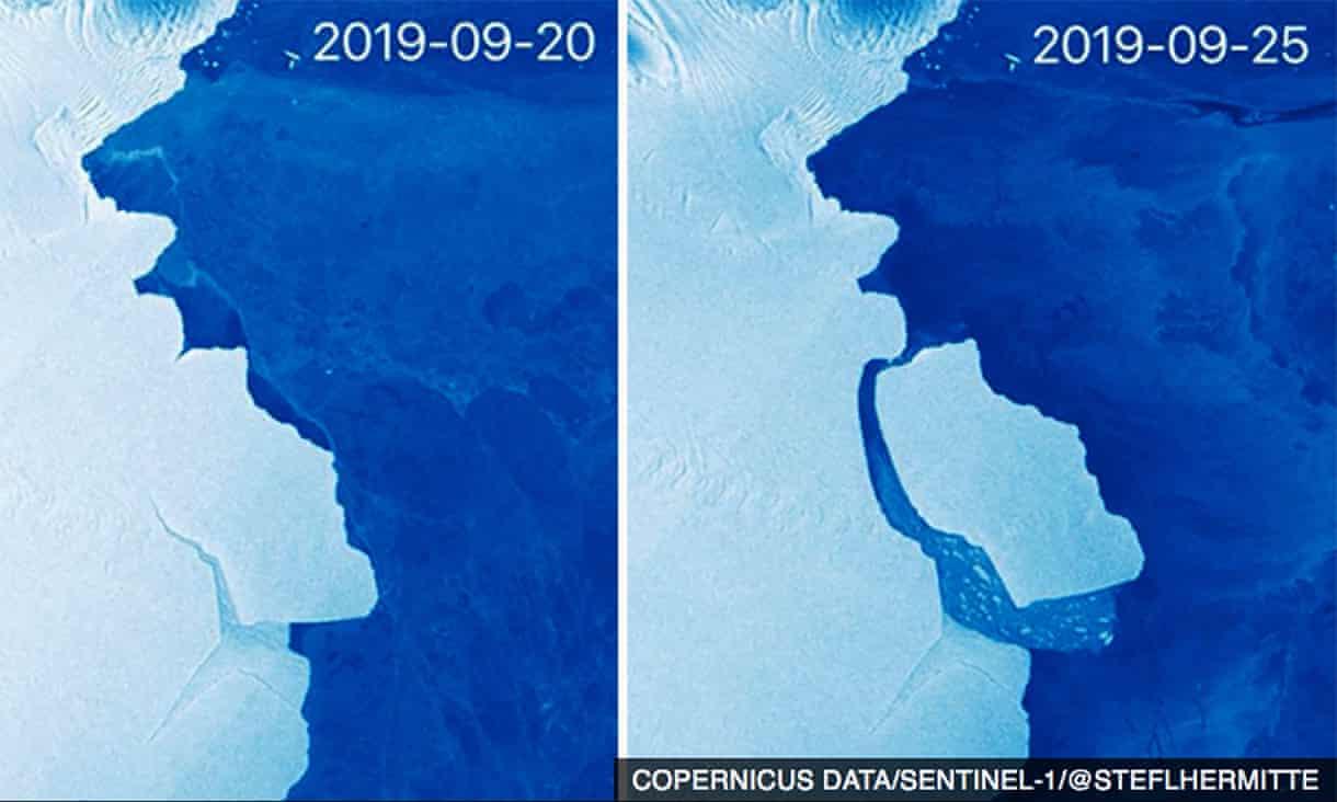 Iceberg más grande que Los Ángeles se desprende de la Antártida