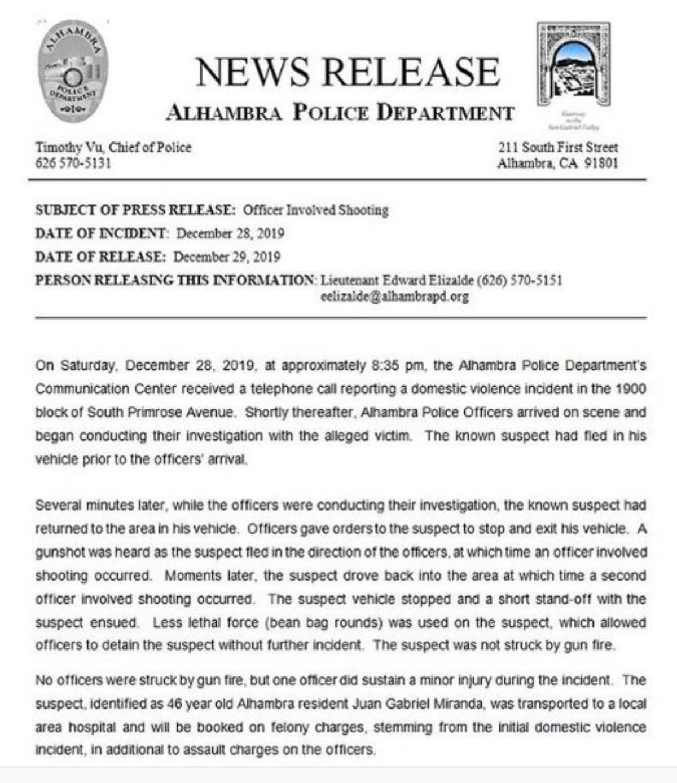"""California. Policías """"perdonaron"""" la vida de un hispano que los atacó a balazos"""
