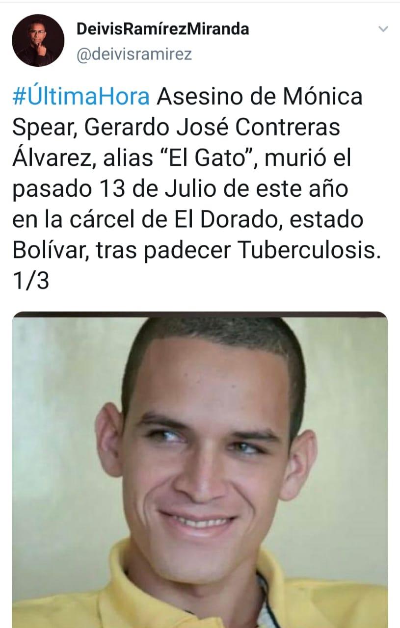 Gerardo José Contreras El Gato, asesino de la actriz Mónica Spear, recibe su merecido