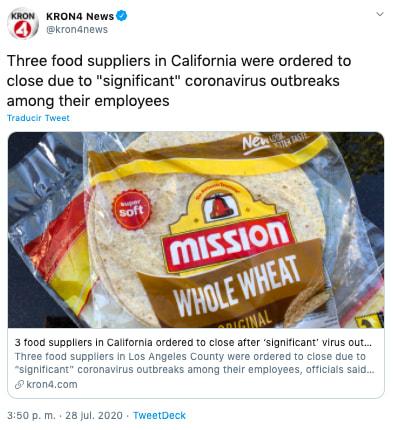 Proveedores de alimentos California obligados a cerrar por nuevo brote