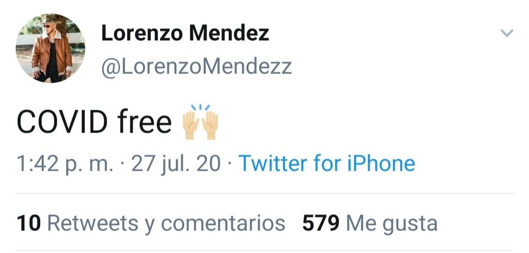 Lorenzo Méndez comparte que se encuentra libre de coronavirus