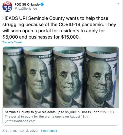 Cheque de estímulo Florida: condado dará hasta 5 mil dólares a residentes
