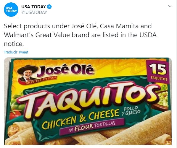 recall taquitos y chimichangas