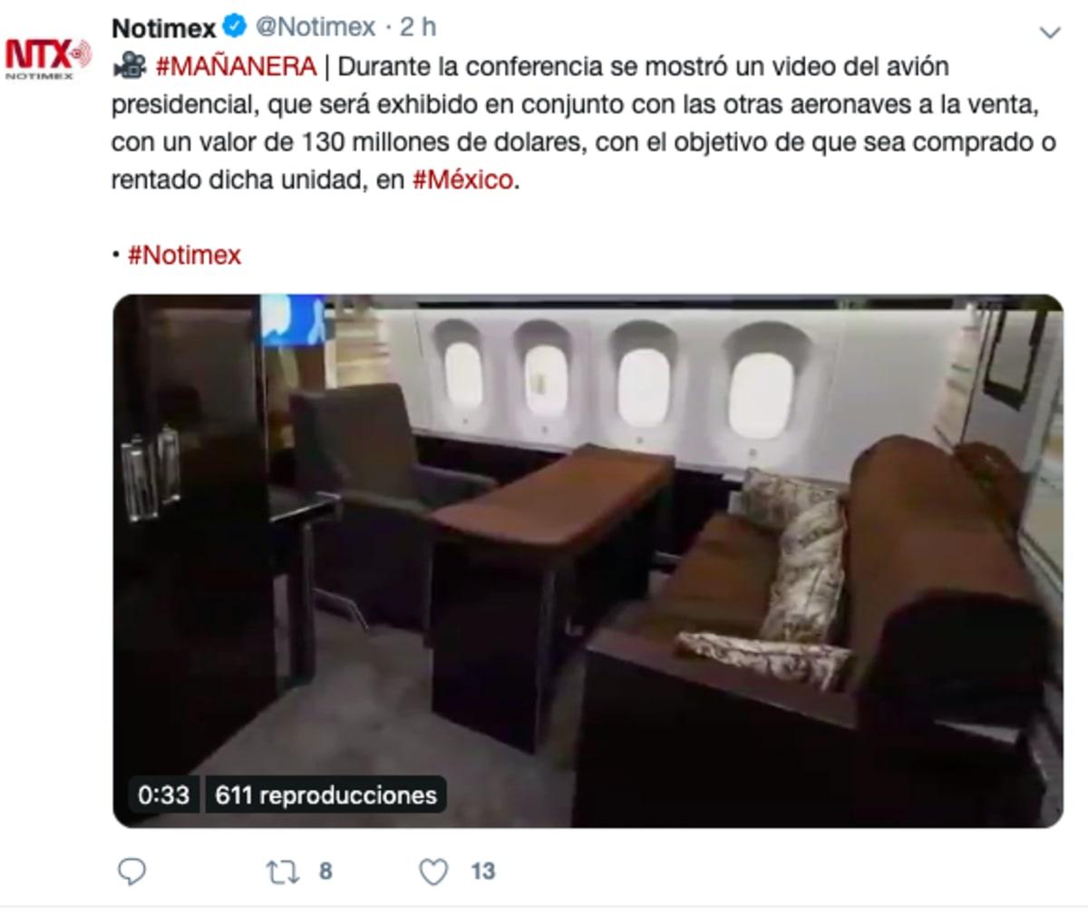 Avión presidencial regresará a México tras fracaso de venta
