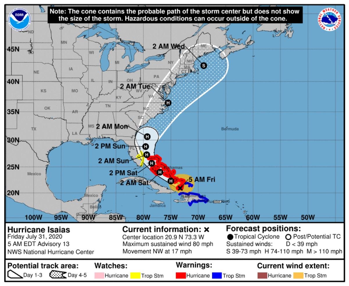 Huracán Isaías Florida