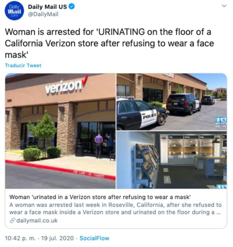 Mujer orina en tienda Verizon tras negarse a usar mascarilla