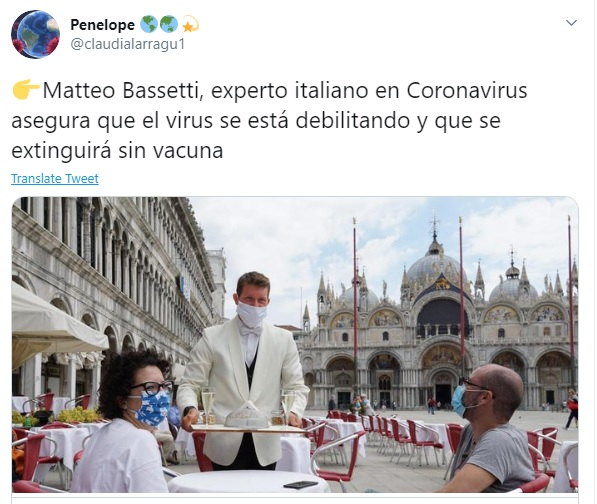 Médico italiano asegura que coronavirus se está debilitando