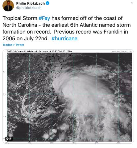 Tormenta tropical Fay golpeará Nueva York provocando inundaciones