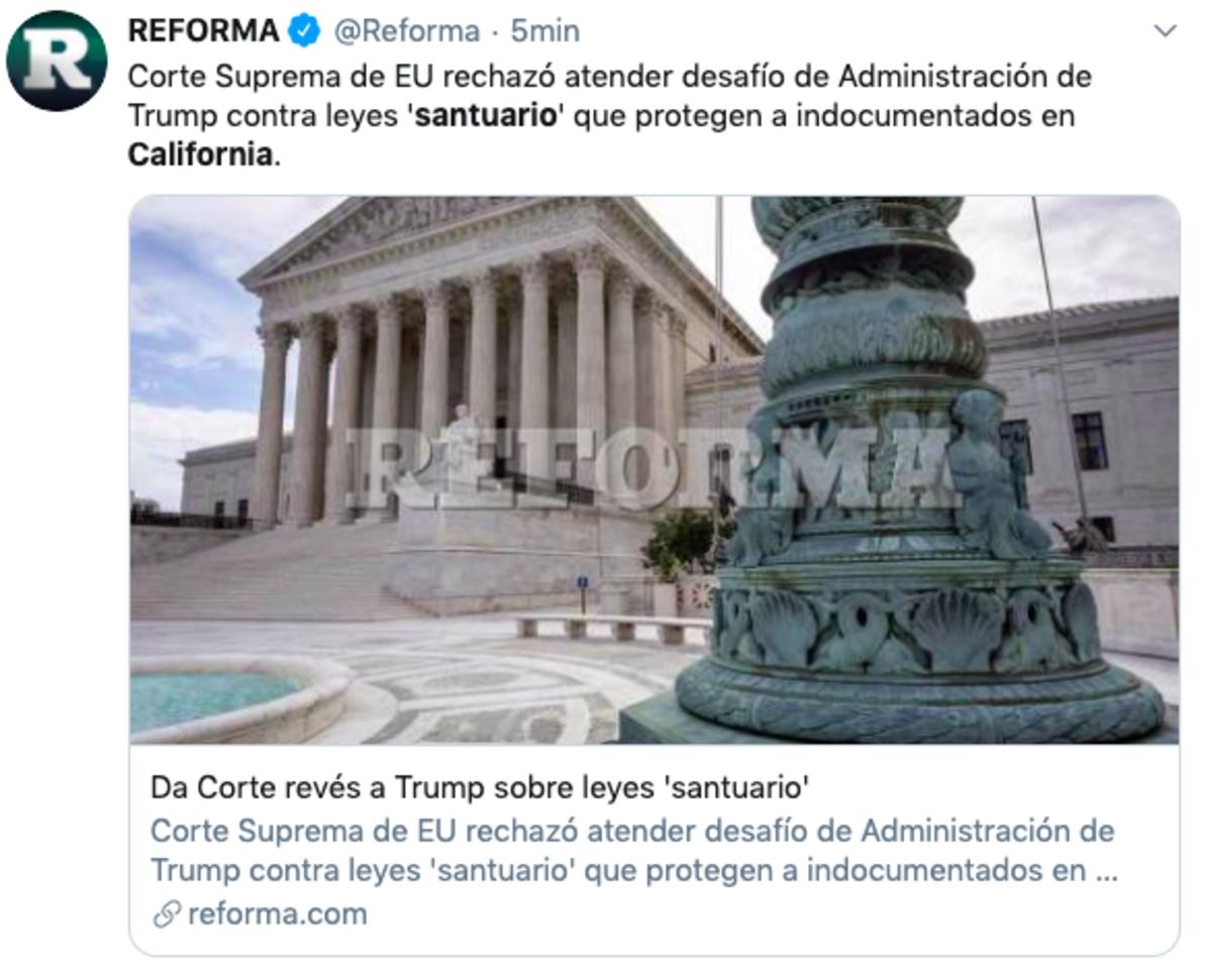 Supremo rechaza demanda de Trump contra ley santuario en California