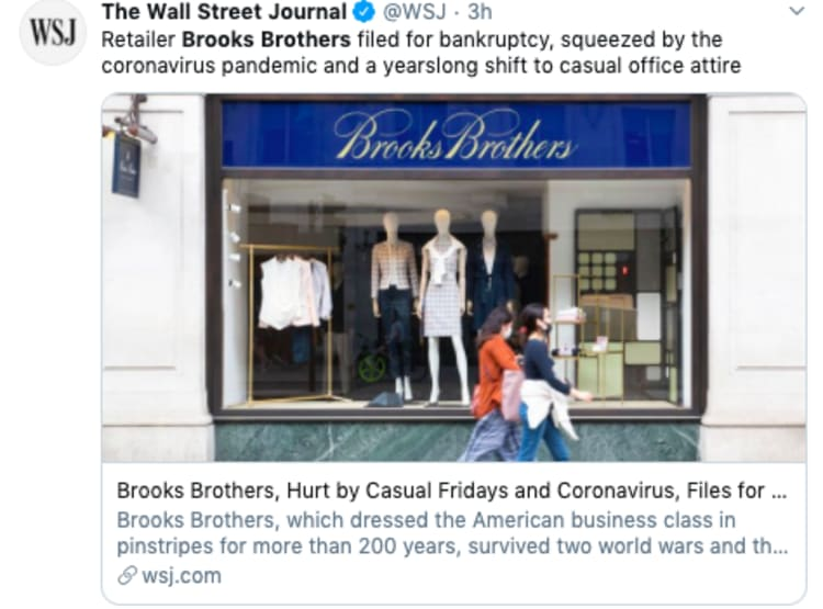 La marca de ropa Brooks Brothers se declara en bancarrota