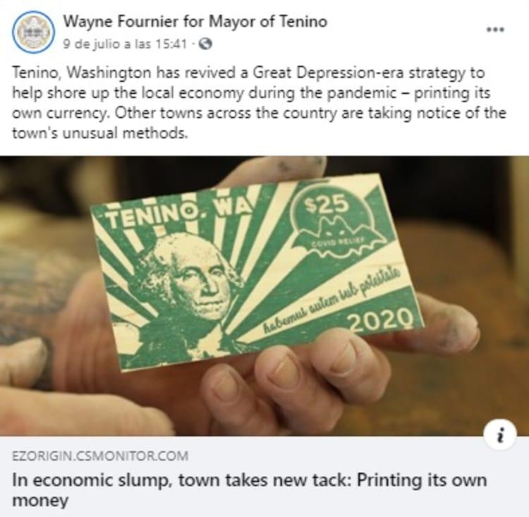 """Una ciudad de Estados Unidos decidió crear su propia moneda: los """"Dólares Tenino"""" hechos de madera y para ser usados en estos tiempos de pandemia."""