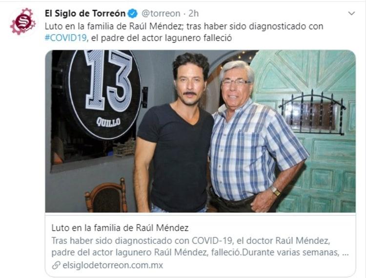 Muere papá de actor de El Señor de los Cielos por coronavirus Raúl Méndez Chacorta