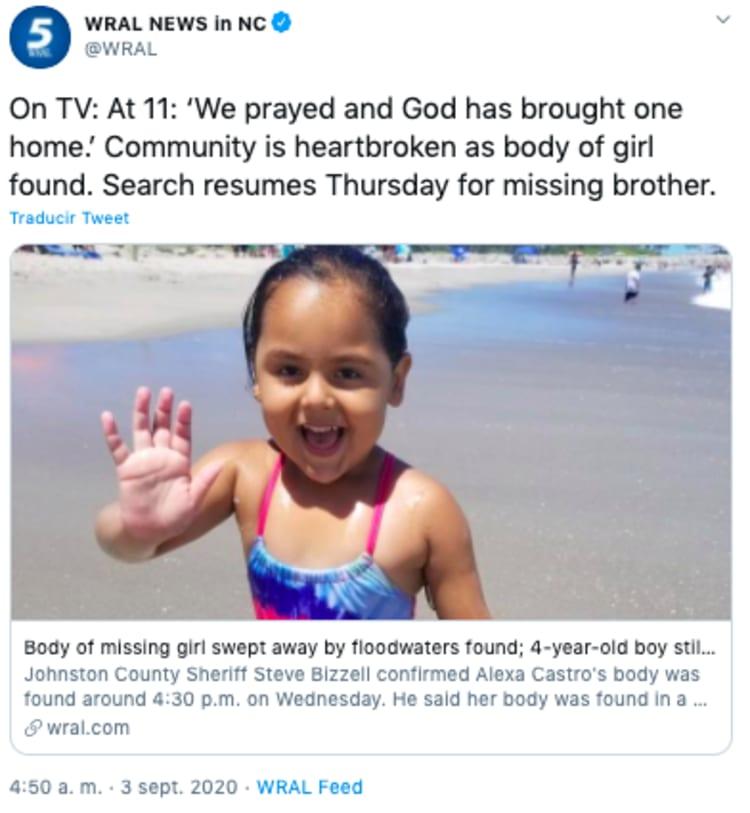 Body of missing Hispanic girl found in North Carolina
