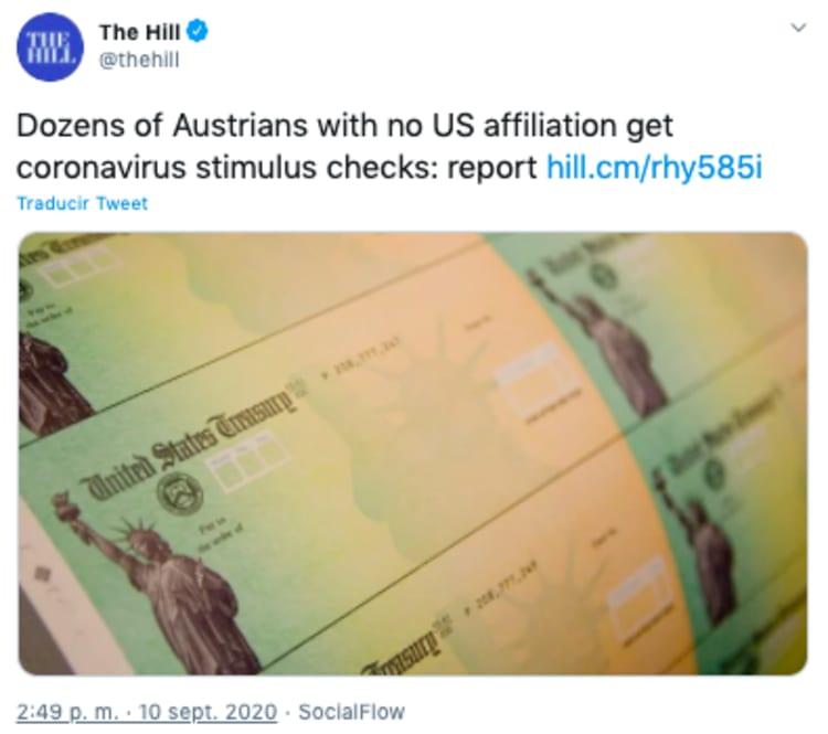Cheque estímulo federal: cientos de austriacos reciben cheque por error