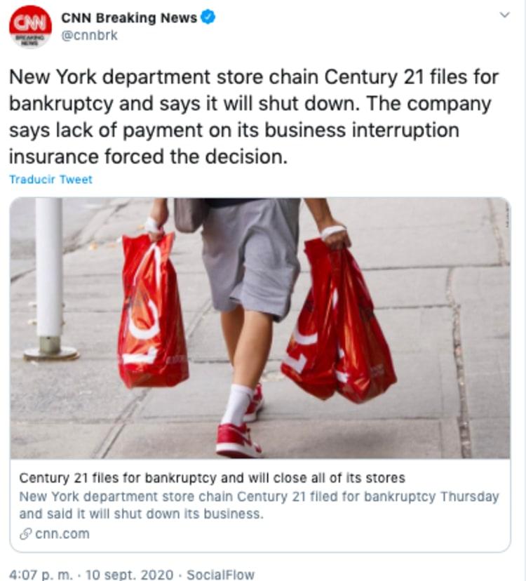Century 21 se declara en bancarrota y cerrará todas sus tiendas