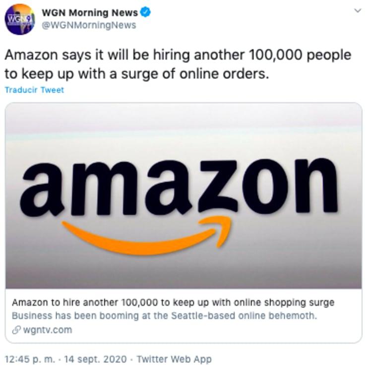 Amazon empleos: contratará 100 mil por aumento de compras en línea