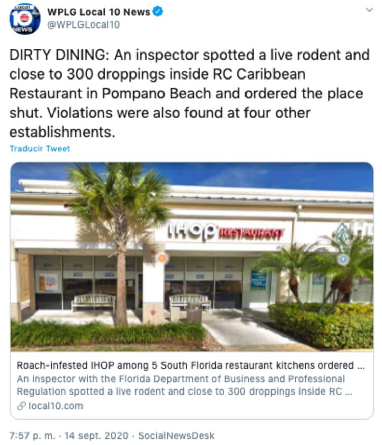 Cierran restaurantes Florida por estar infestados de cucarachas y roedores