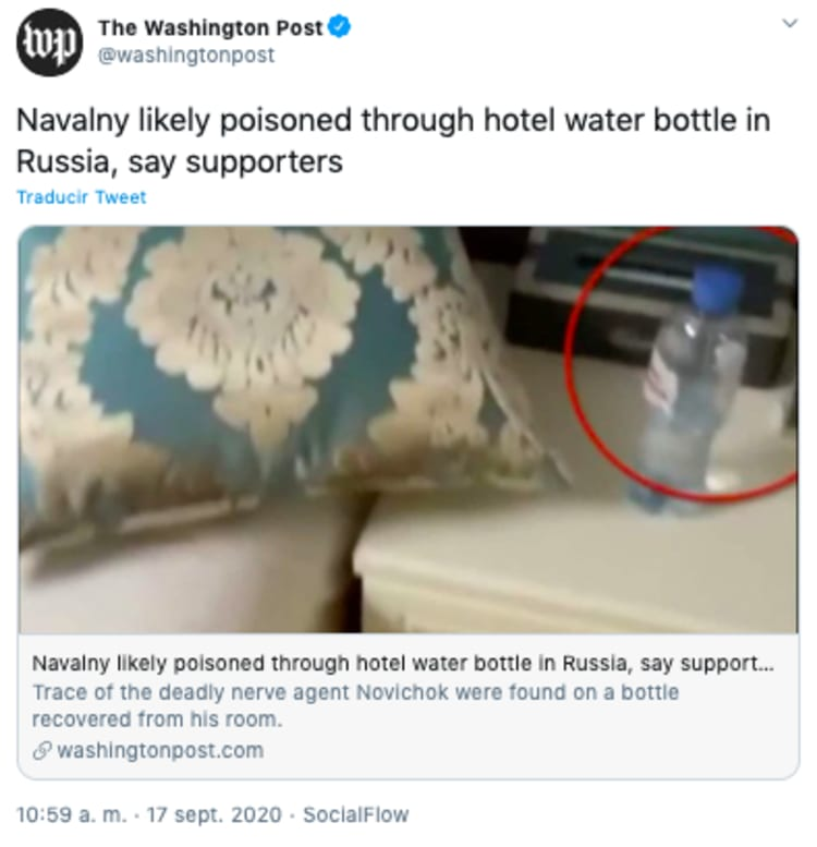 Novichok Navalny: they find remains of poison in bottle in hotel